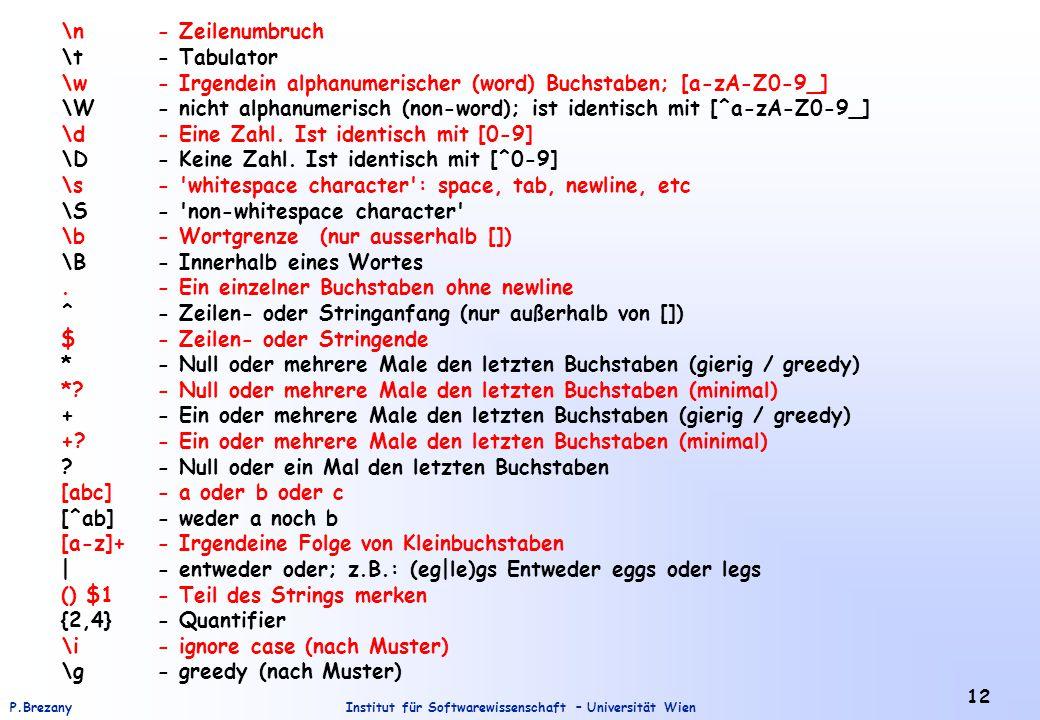 \n - Zeilenumbruch \t - Tabulator. \w - Irgendein alphanumerischer (word) Buchstaben; [a-zA-Z0-9_]